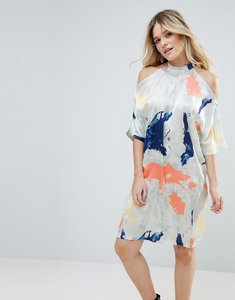 Read more about Liquorish satin cold shoulder print dress - cream