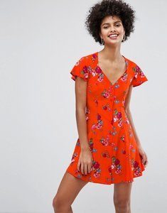 Read more about Asos button through mini dress in ditsy floral - multi