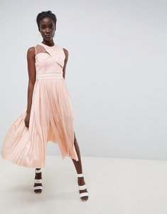 Read more about Three floor asymmetric shoulder pleated midi dress - nude