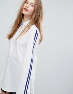 Read more about Plain studios boyfriend shirt with sports stripe sleeve - white