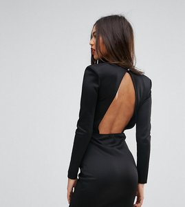 Read more about Missguided open back mini dress with shoulder pads - black