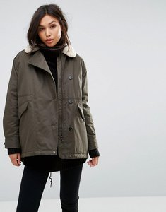Read more about Parka london swing coat with shearling collar - dark olive