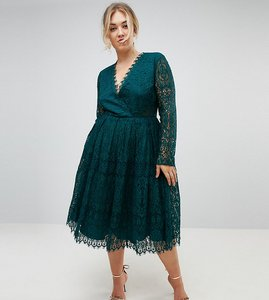 Read more about Asos curve long sleeve lace midi prom dress - green