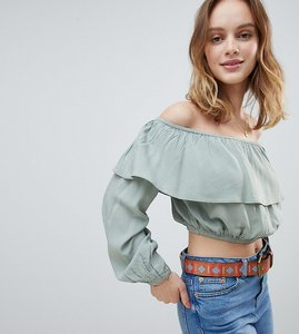 Read more about Glamorous petite off shoulder crop top with ruffle layer - dusty mint