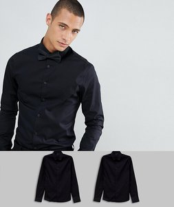 Read more about Asos design skinny 2 pack black shirt save - black