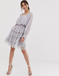 90efa2a919ebb Read more about True decadence premium square neck dress with ruffle and  lace tiered skirt in