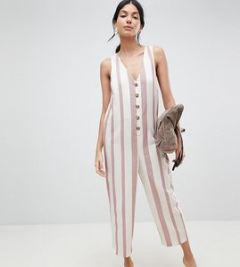 Read more about Asos design tall jumpsuit in stripe with horn button detail - multi