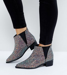 Read more about Asos admission wide fit pointed ankle boots - glitter