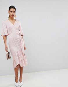 Read more about Asos jacquard kimono sleeve wrap midi dress - pink