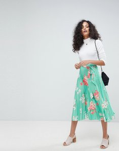 Read more about Asos pleated midi skirt with belt in floral print - multi