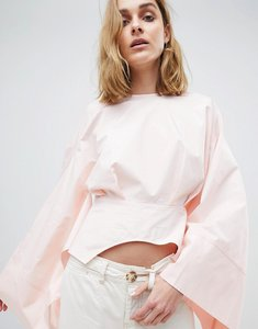 Read more about Asos white cropped kimono top - pink