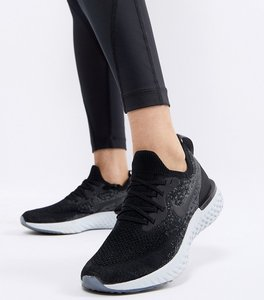 Read more about Nike running epic react flyknit trainers in black - black