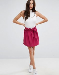 Read more about Asos textured mini skater skirt with paperbag waist and belt - sangria