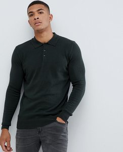 Read more about Brave soul knitted long sleeve polo - green