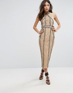 Read more about Prettylittlething premium all over embellished halterneck midi dress - nude