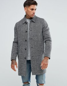 Read more about Asos wool mix trench coat in grey herringbone - grey marl