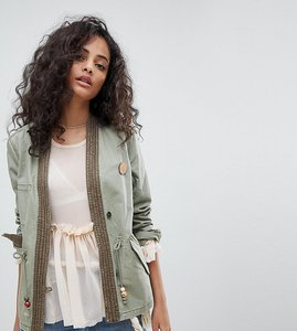 Read more about Maison scotch exclusive military jacket with kimono detailing - military green
