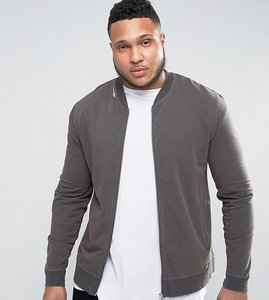 Read more about Asos plus muscle fit jersey bomber jacket with distressing in black - black olive
