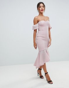 Read more about Missguided bardot fish tail midi dress - dusky pink