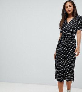Read more about Influence tall shirred sleeve polka dot midi dress - black polka dot