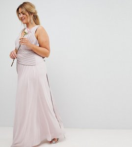Read more about Tfnc plus bow back maxi bridesmaid dress with front pleats - mink