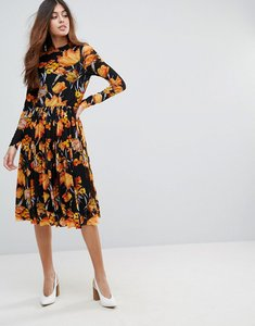 Read more about Y a s floral mesh midi dress - multi