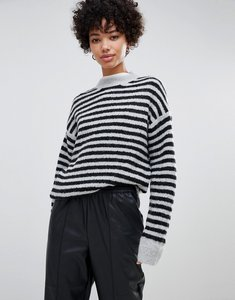 Read more about Moss copenhagen knitted jumper in contrast stripe - black stripe