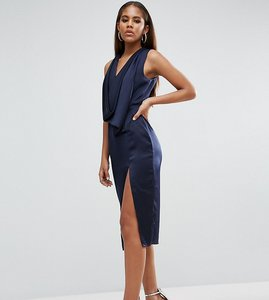 Read more about Asos tall extreme cowl front cut out back midi dress - navy
