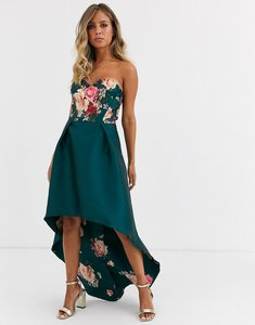 Read more about Chi chi london bandeau prom dress with high low hem in green floral