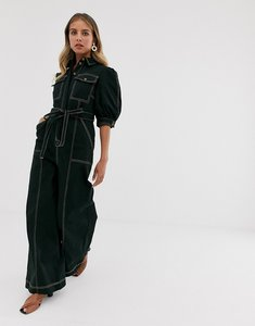Read more about The east order junee wide leg jumpsuit with contrast stitching