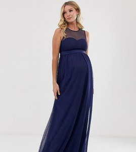Read more about Little mistress maternity mesh insert maxi dress in navy