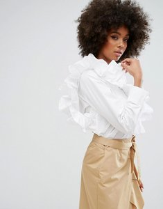 Read more about Style mafia adjustable frill detail shirt - white