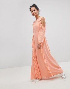 Read more about Glamorous cold shoulder ruffle maxi dress - bright orange