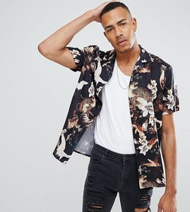 Read more about Asos design tall regular fit floral bird print shirt with revere collar in black - black