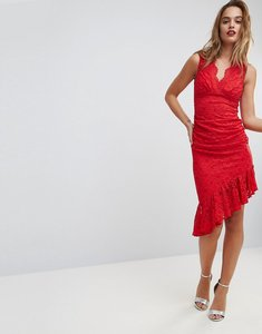 Read more about Asos lace ruched asymmetric hem midi dress - red