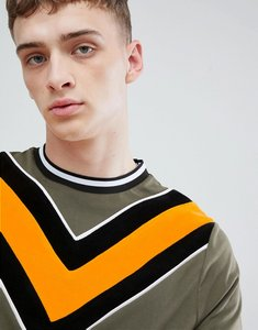 Read more about Asos design t-shirt with cord chevron and contrast tipping in green - stone grey