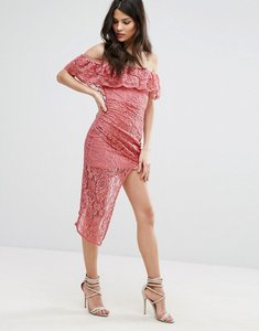 Read more about Club l bardot asymmetric hem lace detail dress - dark rose