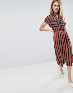 Read more about Bershka striped dress with tie waist in multi - multi