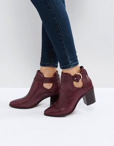 Read more about Ted baker sybell burgundy leather heeled ankle boots - burgundy