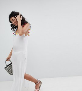 Read more about Akasa white pom pom strap maxi beach dress - white