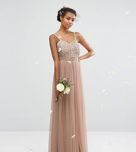 Read more about Maya embellished tulle maxi dress - mink