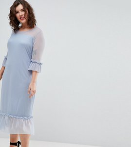 Read more about Junarose ruffle hem midi dress - blue