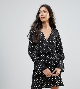 Read more about Oh my love tall polka dot wrap frill long sleeve dress - black spot