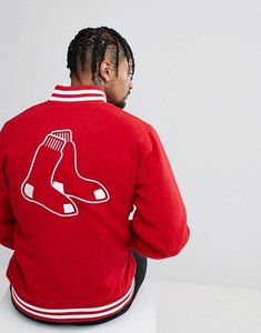 Read more about New era melton wool bomber jacket with boston red sox back embroidery - red