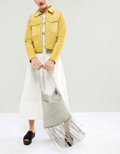 Read more about Asos design suede fringe slouch shopper bag - mink