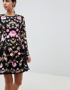 Read more about Asos edition beautiful embellished floral skater dress - black