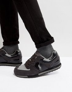 Read more about Polo ralph lauren slaton pony trainers suede mesh in black grey - black charcoal