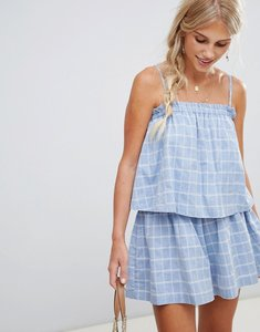 Read more about Minkpinktalulah stripe layered beach playsuit - blue check