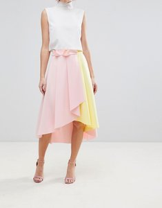 Read more about Asos scuba prom skirt with wrap and colour block detail - pink yellow