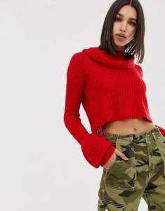 Read more about Missguided open stitch roll neck knitted jumper